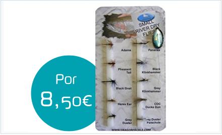 Pack de moscas secas para pequeños ríos de la marca Dragon Tackle