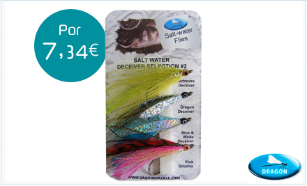 Pack de moscas de agua salada Declivers Dragon Tackle
