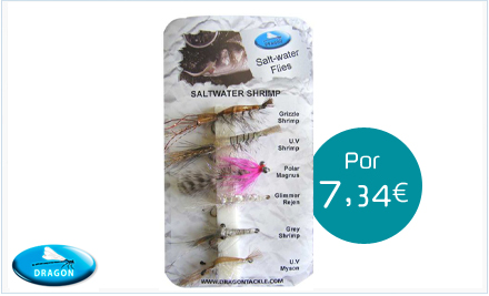 Pack de moscas de agua salada Saltwater shrimp Dragon Tackle