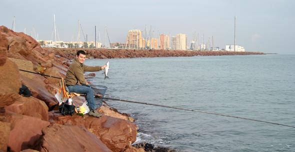 Pesca de lisas con corcho