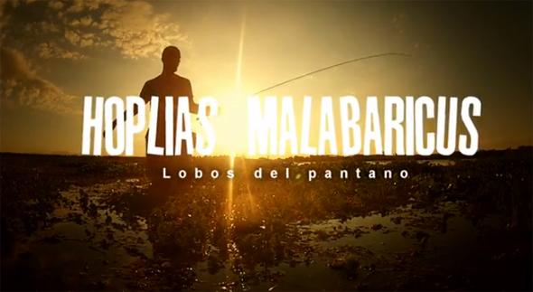 """Fotograma del vídeo de pesca """"Lobos de pantano""""."""