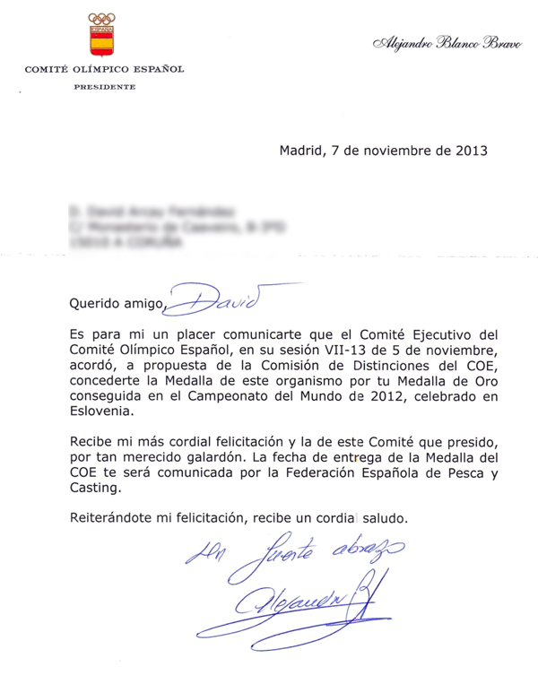 Carta del COE a David Arcay