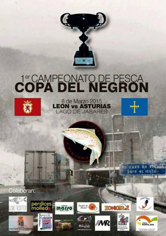 """Este domingo, 8 de marzo, se celebra en León el primer Torneo Copa del Negron, en el lago particular de pesca Monte Jabares.  Lo organiza el Club Deportivo de pesca La Pintona de León y es el primer torneo de pesca a mosca de salmónidos se lleva a cabo en este lago y en el que se vatirán un grupo de pescadores Asturianso contra otro grupo de pescadores leones. Quien consiga ganar el encuestro se llevará el trofreo I Copa del Negrón.    De la creación de este trofeo de carácter más bien amistoso que competitivo,  y de dónde surge el nombre para esta competición la organización nos señaló que´ """"como el Túnel del Negrón, en la autopista del Huerna, nos separa a Asturias de León, el nombre surgió rápidamente, Copa del Negrón, y ya solo hizo falta una vieja copa estropeada que había dejado un socio del club y que hábilmente restauró otro compañero, que la lacó en negro, para darle el nombre de """"La Negrona"""" para que todo tomara forma. La copa residirá en la provincia que gane hasta la siguiente edición y en la placa se anotara  el nombre del equipo campeón al estilo de la Copa Davis de tenis,  mientras que no descartamos que en próximas ediciones seamos los leoneses los que nos desplacemos a Asturias para alternar en escenario de pesca que siempre será en algún lago particular de los que cada día están mas en auge.."""