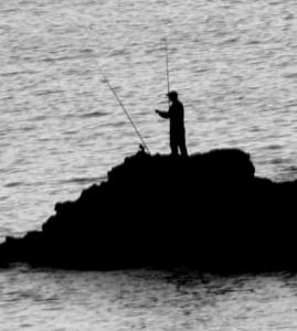 Pescador y la naturaleza