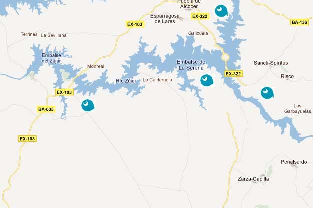 Lugar de pesca: Embalse de la Serena. Mapa.