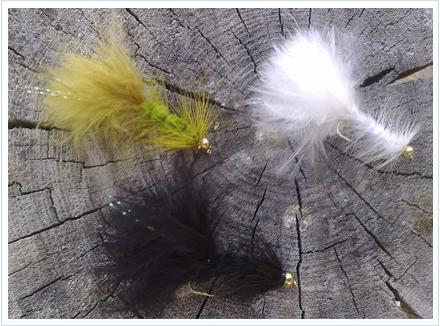 Varios colores de la mosca Woolly Bugger