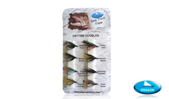 Pack de moscas especial daytime Dragon Tackle, perfectas para pescar reo.