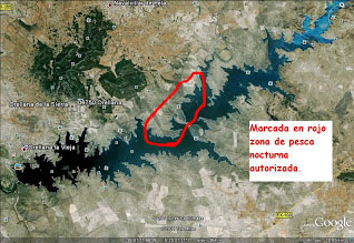 Mapa de la zona libre del embalse de Orellana